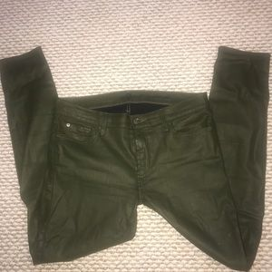 7 For All Mankind skinny jeans w/ green shiny fab